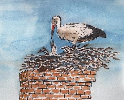 stork nest chimney